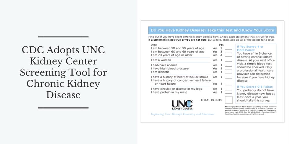 CDC Adopts UNC Kidney Center Screening Tool for Chronic Kidney Disease