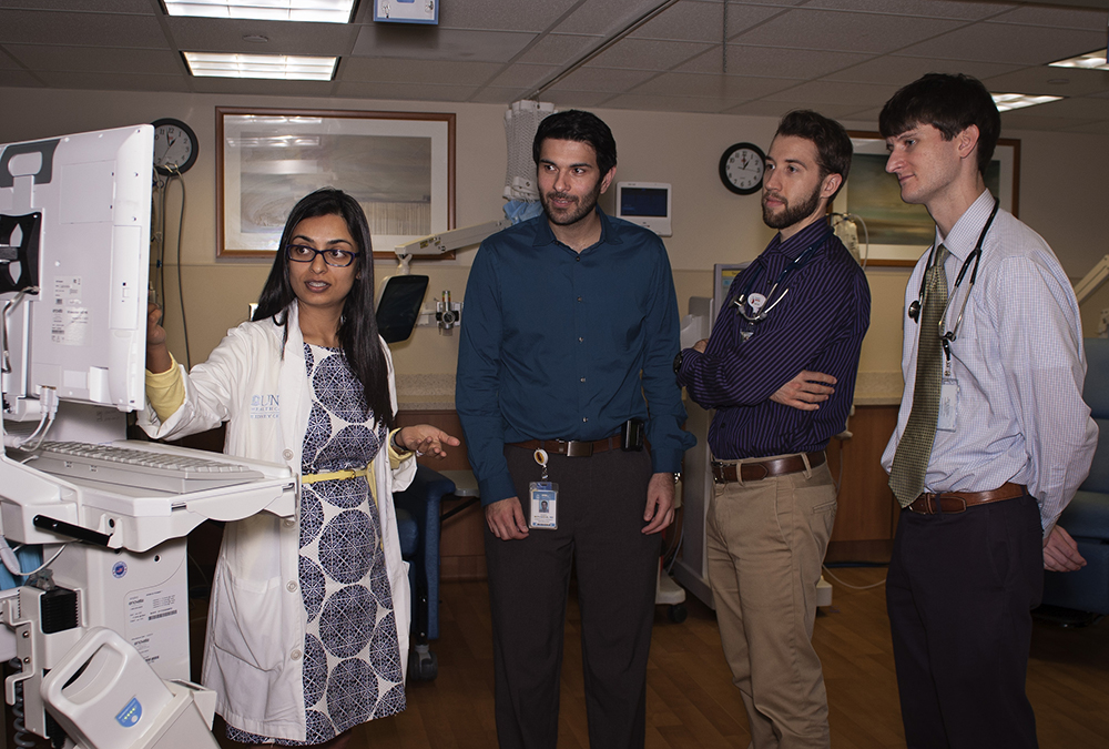 Dr. Koyal Jain teaches fellows, residents, and med students in the in-patient dialysis unit