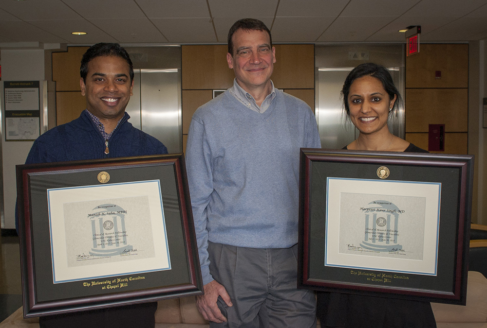 Graduating GN fellows, Dr. Manish Saha and Dr. Harpreet Singh, with their mentor Dr. Patrick Nachman